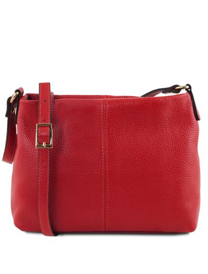 Geanta dama din piele naturala Tuscany Leather, rosu aprins