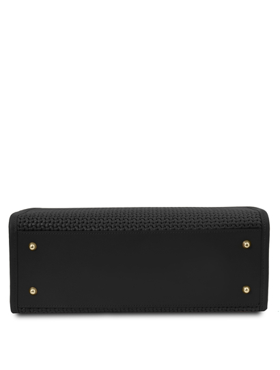 Geanta dama de mana din piele naturala neagra, Tuscany Leather, Woven