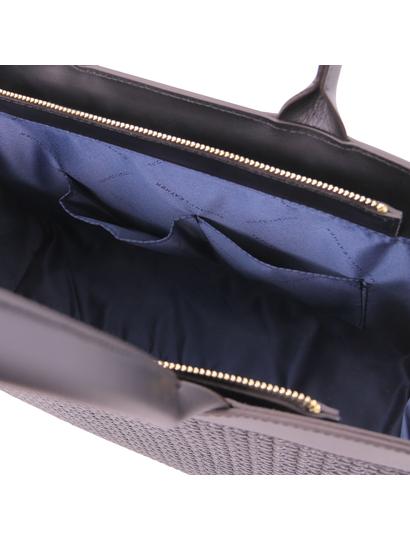 Geanta mana din piele naturala neagra, Tuscany Leather, Woven