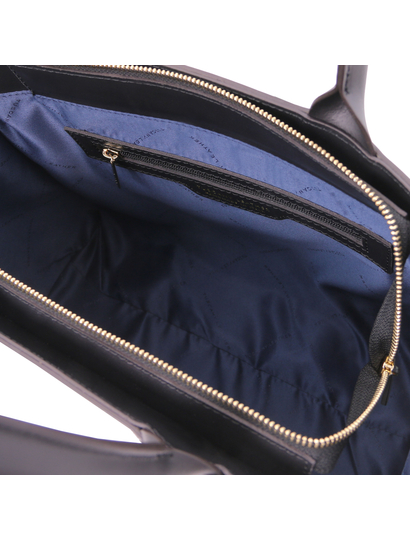 Geanta mana piele naturala neagra, Tuscany Leather, Woven