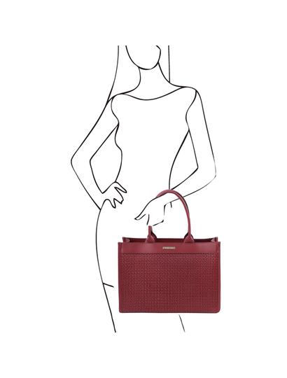 Geanta de mana piele naturala rosie, Tuscany Leather, Woven