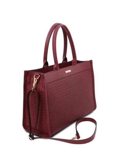 Geanta dama de mana din piele naturala rosie, Tuscany Leather, Woven