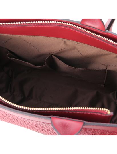 Geanta mana din piele naturala rosie, Tuscany Leather, Woven