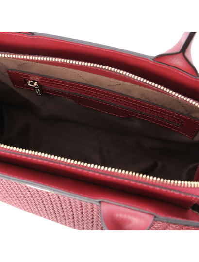 Geanta mana piele naturala rosie, Tuscany Leather, Woven