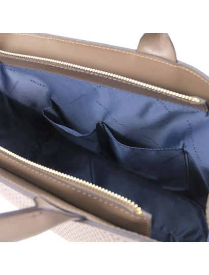 Geanta de mana piele naturala grej, Tuscany Leather, Woven