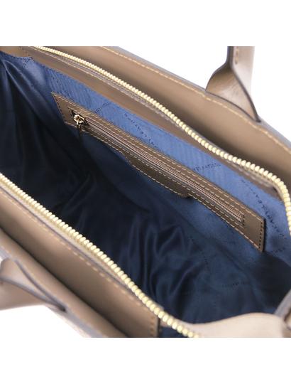 Geanta dama de mana piele naturala grej, Tuscany Leather, Woven