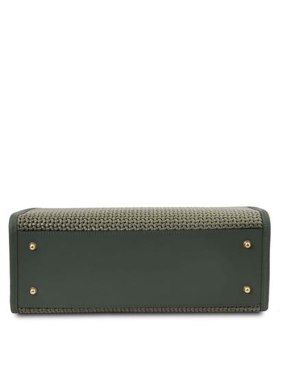 Geanta mana piele naturala verde, Tuscany Leather, Woven