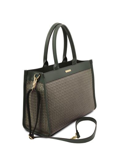 Geanta de dama din piele naturala verde, Tuscany Leather, Woven