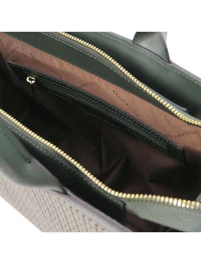 Geanta de mana piele naturala verde, Tuscany Leather, Woven