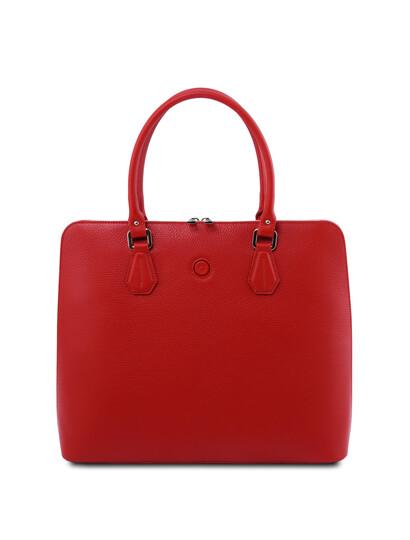 Geanta business dama din piele naturala rosie, Tuscany Leather, Magnolia
