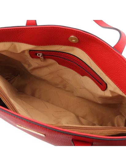 Geanta dama piele naturala rosu aprins, Tuscany Leather, TL Bag