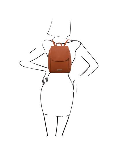 Rucsac de dama, piele naturala coniac, Tuscany Leather, TL Bag soft