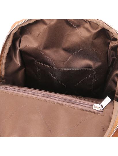 Rucsac coniac de dama, piele naturala, Tuscany Leather, TL Bag