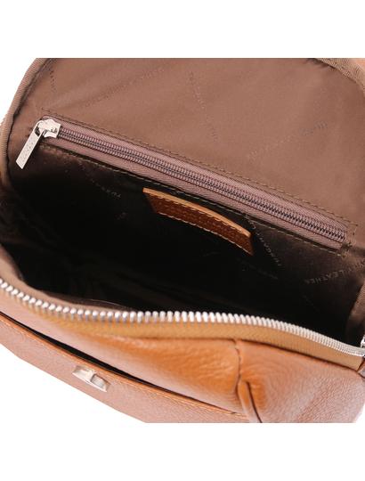 Rucsac soft de dama, piele naturala coniac, Tuscany Leather, TL Bag