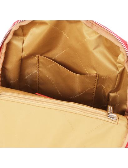 Rucsac rosu de dama, piele naturala, Tuscany Leather, TL Bag