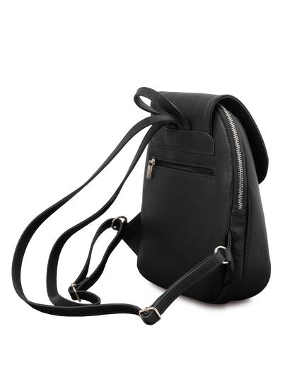 Rucsac de dama, piele naturala neagra, Tuscany Leather, TL Bag soft