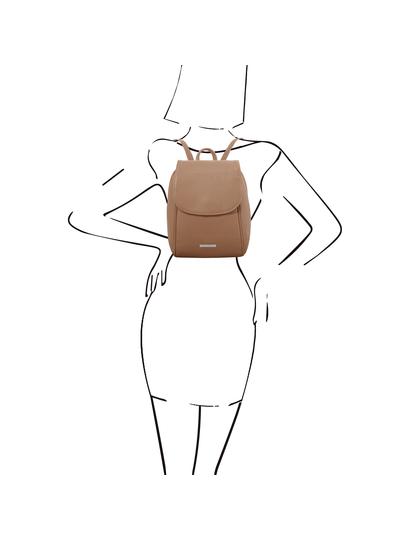 Rucsac de dama, piele naturala grej, Tuscany Leather, TL Bag soft