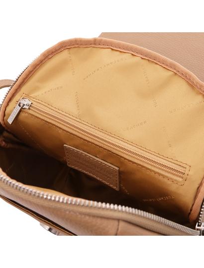 Rucsac grej de dama, piele naturala, Tuscany Leather, TL Bag