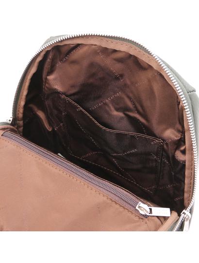 Rucsac verde de dama, piele naturala, Tuscany Leather, TL Bag