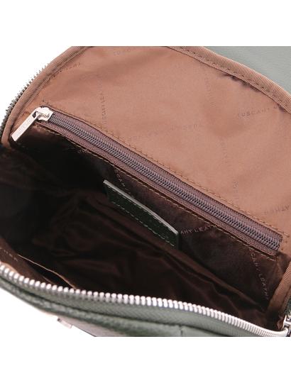 Rucsac verde dama, piele naturala, Tuscany Leather, TL Bag