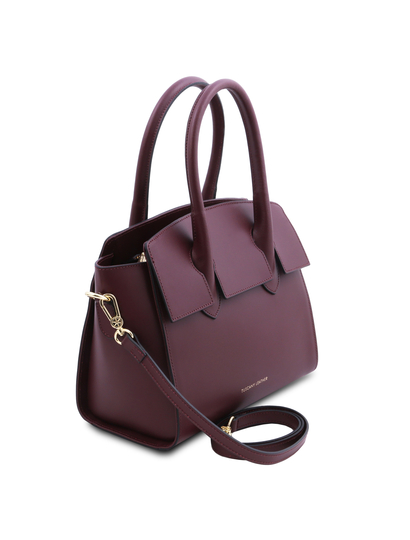 Geanta dama de mana, din piele naturala, Tuscany Leather, bordo, Brigid