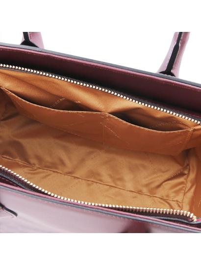 Geanta dama mana, din piele naturala, Tuscany Leather, bordo, Brigid