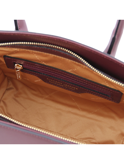 Geanta de dama, din piele naturala, Tuscany Leather, bordo, Brigid