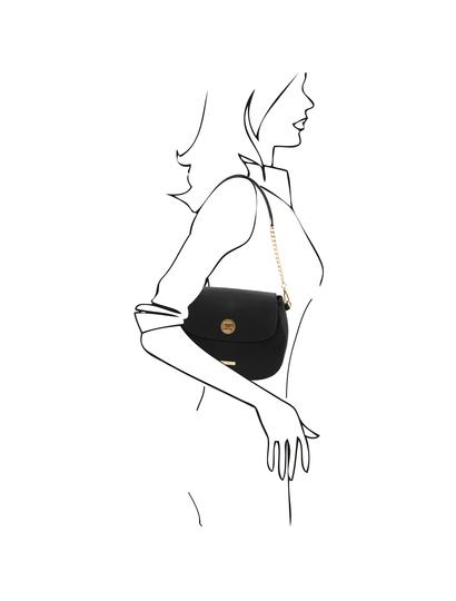Geanta dama piele naturala, neagra, Tuscany Leather, Fresia