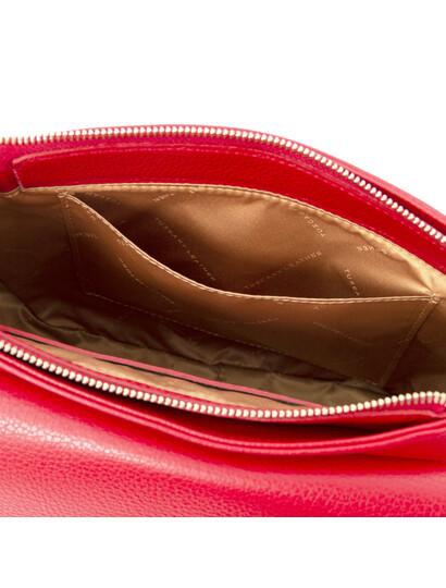 Geanta dama piele naturala, rosie, Tuscany Leather, Fresia