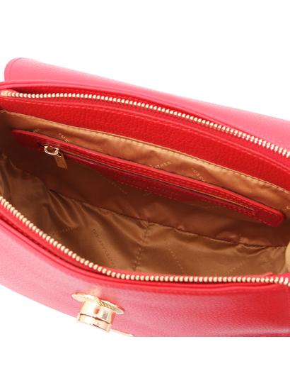 Geanta de dama din piele naturala, rosie, Tuscany Leather, Fresia