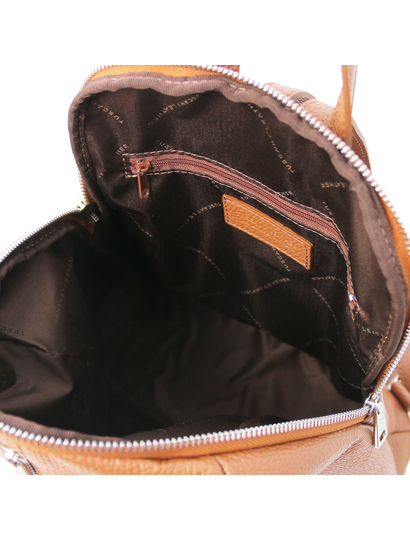 Rucsac de dama, din piele naturala coniac, Tuscany Leather, TL Bag