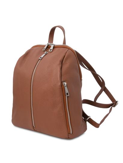 Rucsac dama, din piele nat coniac, Tuscany Leather, TL Bag