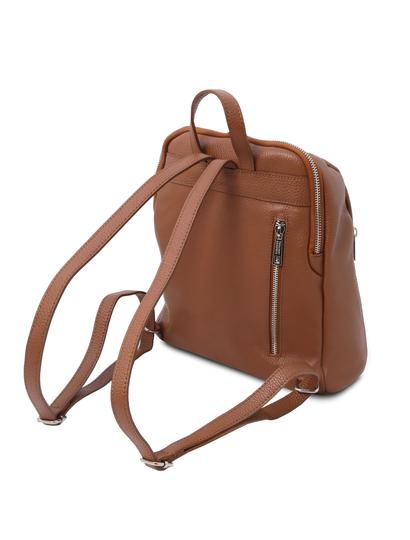 Rucsac de dama, piele naturala coniac, Tuscany Leather, TL Bag