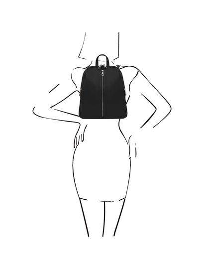 Rucsac dama, din piele naturala neagra, Tuscany, TL Bag