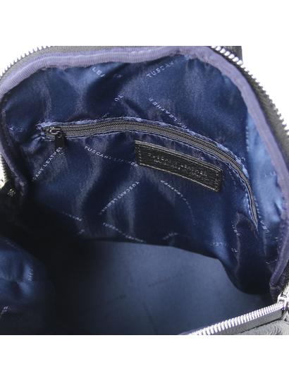 Rucsac de dama, din piele naturala neagra, Tuscany Leather, TL Bag