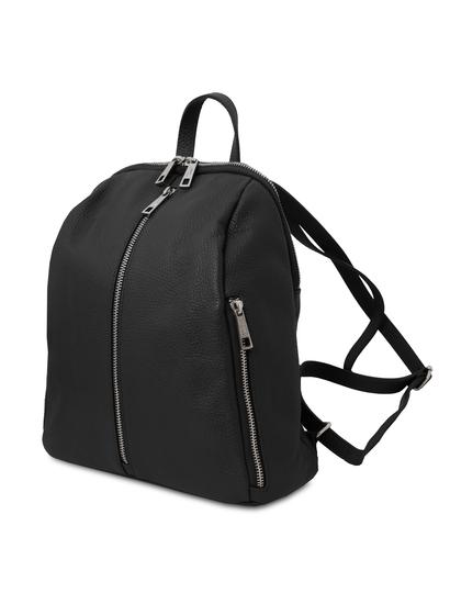 Rucsac dama, din piele nat neagra, Tuscany Leather, TL Bag