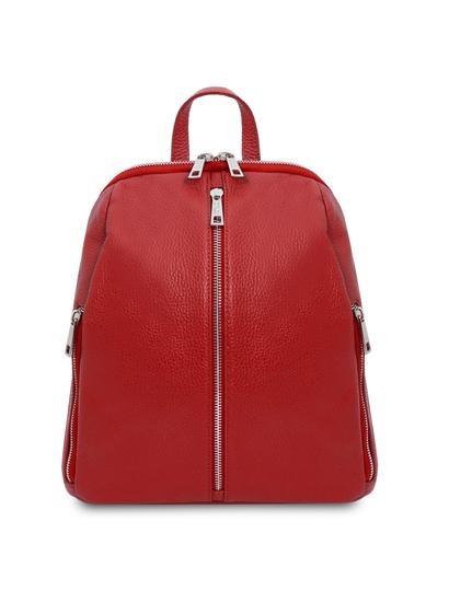 Rucsac dama din piele naturala rosie, Tuscany Leather, TL Bag