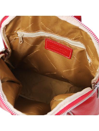 Rucsac de dama, din piele naturala rosie, Tuscany Leather, TL Bag