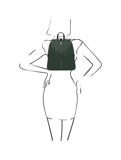 Rucsac de dama, din piele naturala verde, Tuscany Leather, TL Bag