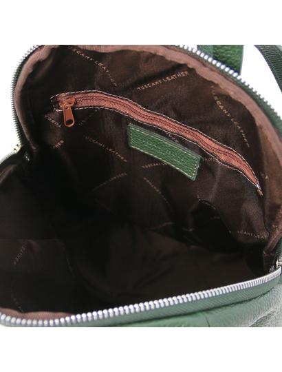 Rucsac dama, piele naturala verde, Tuscany Leather, TL Bag