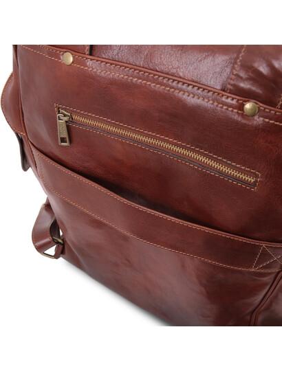 Rucsac mare laptop din piele naturala maro, Tuscany Leather, Bangkok