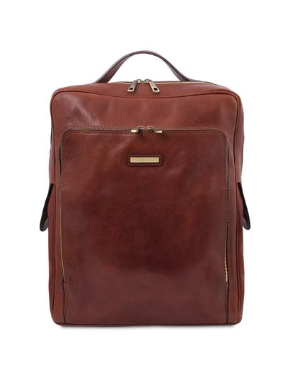 Rucsac laptop din piele naturala maro, marime mare, Tuscany Leather, Bangkok