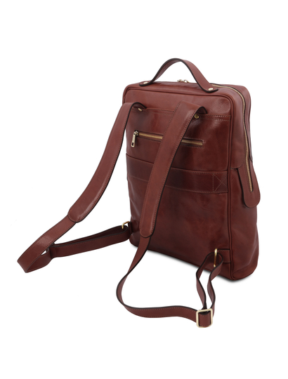 Rucsac mare pentru laptop din piele naturala maro, Tuscany Leather, Bangkok