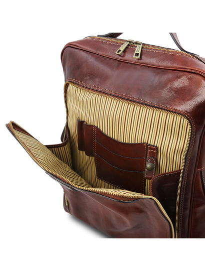Rucsac pentru laptop din piele naturala maro, Tuscany Leather, Bangkok