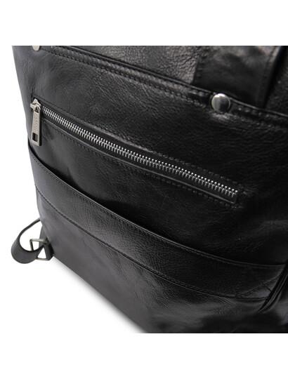 Rucsac laptop din piele naturala neagra, mare, Tuscany Leather, Bangkok