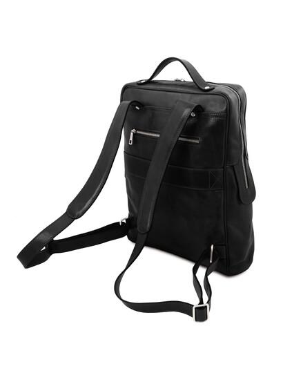 Rucsac mare laptop din piele naturala neagra, Tuscany Leather, Bangkok