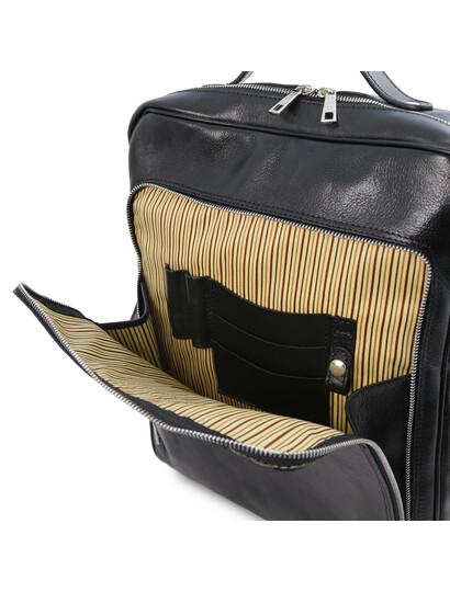 Rucsac laptop din piele neagra, marime mare, Tuscany Leather, Bangkok