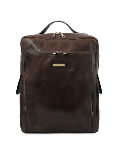 Rucsac laptop din piele naturala maro inchis, marime mare, Tuscany Leather, Bangkok
