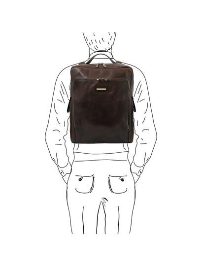 Rucsac pentru laptop din piele naturala maro inchis, marime mare, Tuscany Leather, Bangkok
