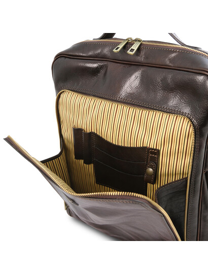 Rucsac pentru laptop piele naturala maro inchis, marime mare, Tuscany Leather, Bangkok